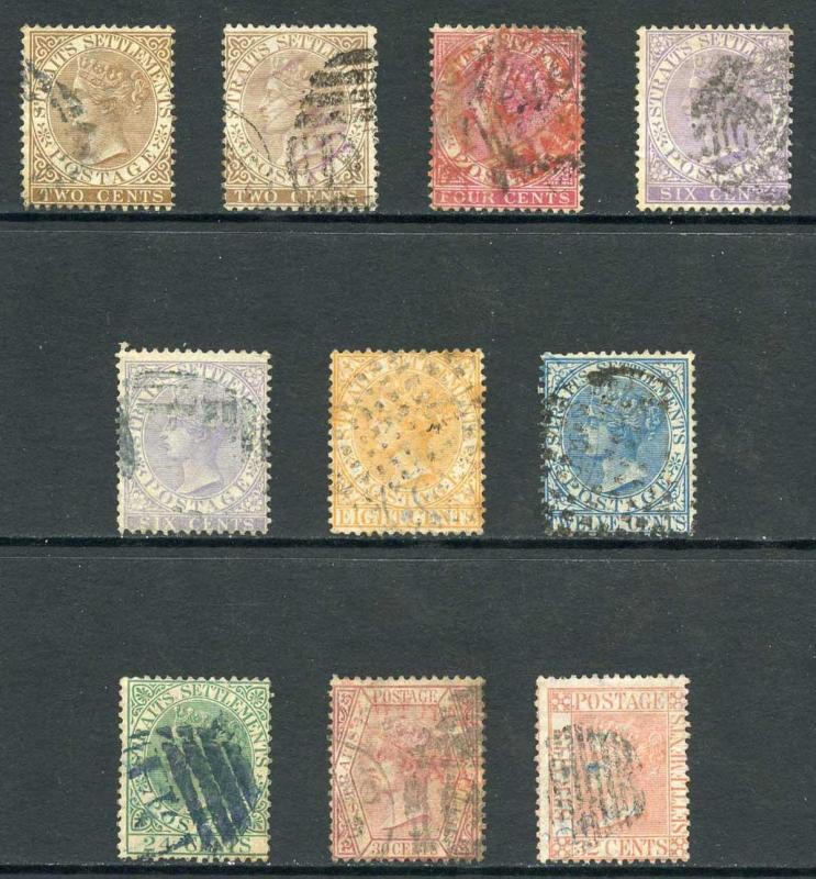 Straits Settlements SG11/18 Set to 32c (no 96c) including shades Used Cat 384 p