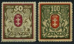 Danzig 94-95,MNH.Michel 101-102. Coat of Arms,1922.Lions.