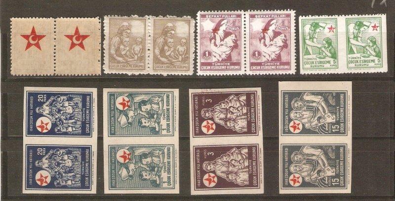 Turkey postal tax stamps, all errors