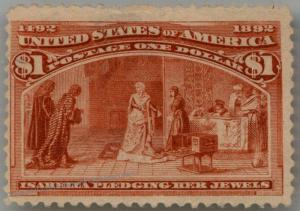 USA 1893 Sc241 $1 Columbian Original Gum MH Thin at Top Good Color 90690