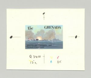 Grenada #1517 Monitor & Merrimack Civil War Submarine 1v imperf chromalin proof