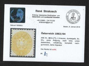 Austria 1863/64 2kr Dark Yellow Mint Regummed Perf 9 1/2 - w/2018 Cert