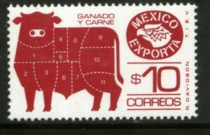 MEXICO Exporta 1491, $10P Cattle Meat Fluor Paper 8. MINT, NH. F-VF.