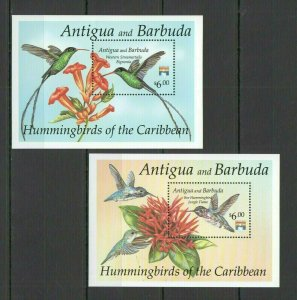 QD1602 ANTIGUA & BARBUDA FAUNA BIRDS HUMMINGBIRDS OF THE CARIBBEAN 2BL FIX