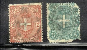 ITALY  SC# 74+75 **USED**  1896-97  2+5c     SEE SCAN