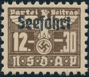 Stamp Germany Revenue Seefahrt WWII 1939 3rd Reich War Era Party Due 12.30 MNG