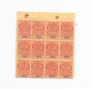 1906 AMERICAN TELEPHONE & TELEGRAPH 5 CENT MESSAGE COUPON, BLOCK OF 12
