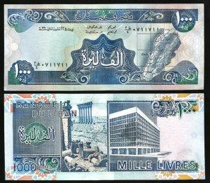LEBANON # 69b BANKNOTE - PAPER MONEY 1000 LL 1990 NEW UNCIRCULATED