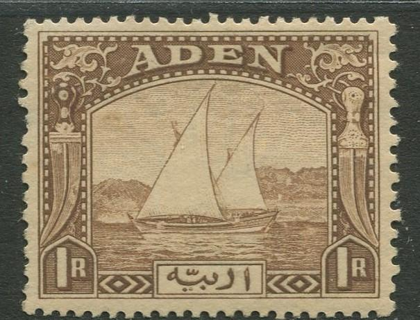 ADEN - Scott 9  - Dhows -1937 -  MH - Single 1r Stamp