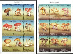 Central African 1999 Mushrooms 2 sheets MNH