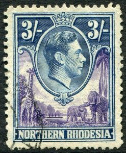 NORTHERN RHODESIA-1938-52 3/- Violet & Blue Sg 42 FINE USED V48292