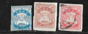 Japan #180-182 imperfs    (U) CV $5.25