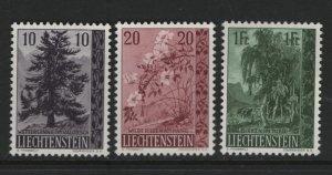 LIECHTENSTEIN 312-314 (3) Set, Hinged, 1957 Pine, Wild Roses, Birches.