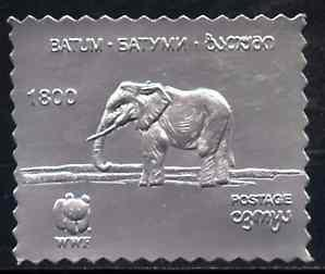 Batum 1994 Elephant 1800 value in silver foil from WWF se...