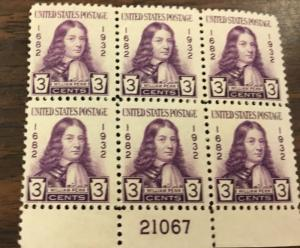 {BJ Stamps} 724  William Penn.  3c Plate Block of 6.  MNH.   Issued in 1932.