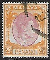 Malaya, Penang # 16 - King George VI - used....{BR23}