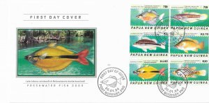 Papua New Guinea FDC Freshwater Fish 6 Stamps 2004