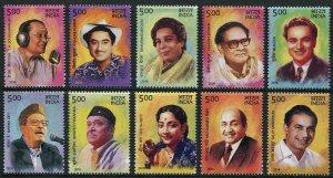 HERRICKSTAMP NEW ISSUES INDIA Sc.# 2884-93 Legendary Singers