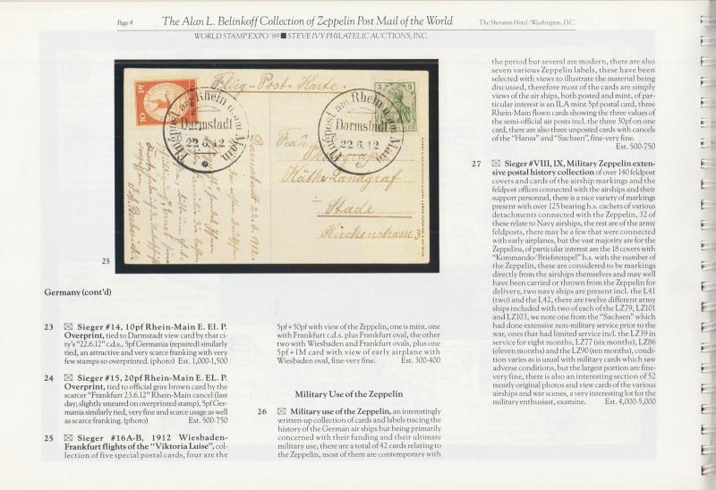 The Alan L. Belinkoff Collection of Zeppelin Post Mail of the World.