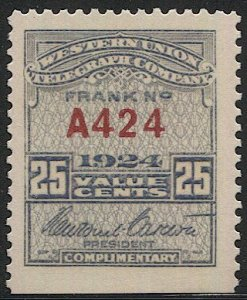 US 1924 Sc 16T66 MLH Western Union Telegraph Co., Serial #A424, VF