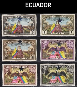Ecuador Scott 444-46, C139-41 complete set F to VF mint OG H.