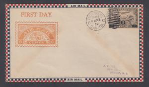 Canada Sc C3 FDC. 1932 6c on 5c brown olive Globe, bister A.C. Roessler cachet