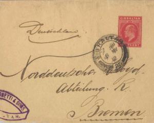 Gibraltar 1d KEVII Wrapper 1912 Gibraltar, 25 Printed matter to Bremen, Germany.