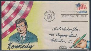 #1208 ON KENNEDY HAND DRAWN BY HERMAN MAUL FDC CACHET BU453