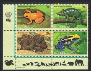 UN New York Frog Chameleon Boa snake Block of 4 SG#966-969 MI#1015-1018
