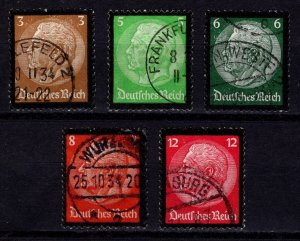 Germany 1934 Hindenburg, Portrait with black borders, Part Set to 12pf [Used]