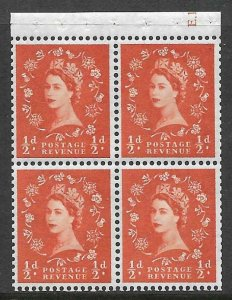 SB11 ½d Crowns left Cyl E13 Wilding booklet pane perf type I UNMOUNTED MINT