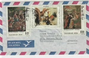 Peru 1970 Airmail Birds + Religious Paintings Stamps Cover to Germany Ref 29054