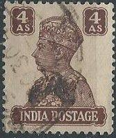 India 176 (used) 4a King George VI, choc (1941)