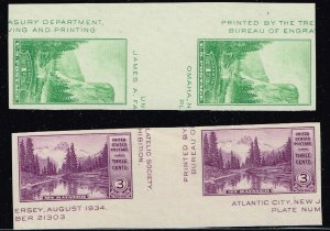 US STAMP #750 – 751 1934 UNUSED NG GUTTER PAIR STAMPS LOT