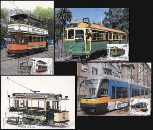 Bulgaria. 2014. History of the Electric Tram (Mint) Set of 4 Maxi Cards