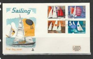 GB FDC 1975 Sailing, Southampton FDI, Small label address