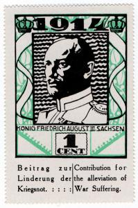 (I.B) US Cinderella : German War Charity 1c (1914) King Fredrich August