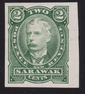 SARAWAK 1895 2c green colour trial IMPERF hinged mint......................70271