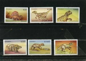 ZAMBIA 1999 PREHISTORICAL ANIMALS/DINOSAURS SET OF 6 STAMPS MNH