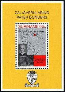 Surinam 599a S/S, MNH.Beatification of Father Petrus Donders.Birthplace,map,1982