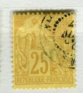 FRENCH COLONIES; Classic 1880s perf issue fine used 25c. value