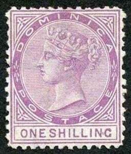 DOMINICA SG3 1874 1/- Dull Magenta Wmk Crown CC perf 12.5 un-used (no gum)