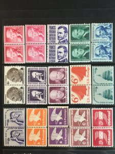 US 15 Different Coil Joint Line Pairs JLP all MNH, FV $4+