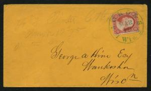 US Scott #25 on Cover, Green CDS Cancel Lacrosse, WI, March 19, 1855