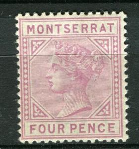 MONTSERRAT; 1885 early classic QV issue Mint hinged 4d. value