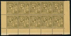 Monaco 1921 75c OLIVE BROWN ON BUFF NH BLOCK OF TEN #25 well-centered CV$...