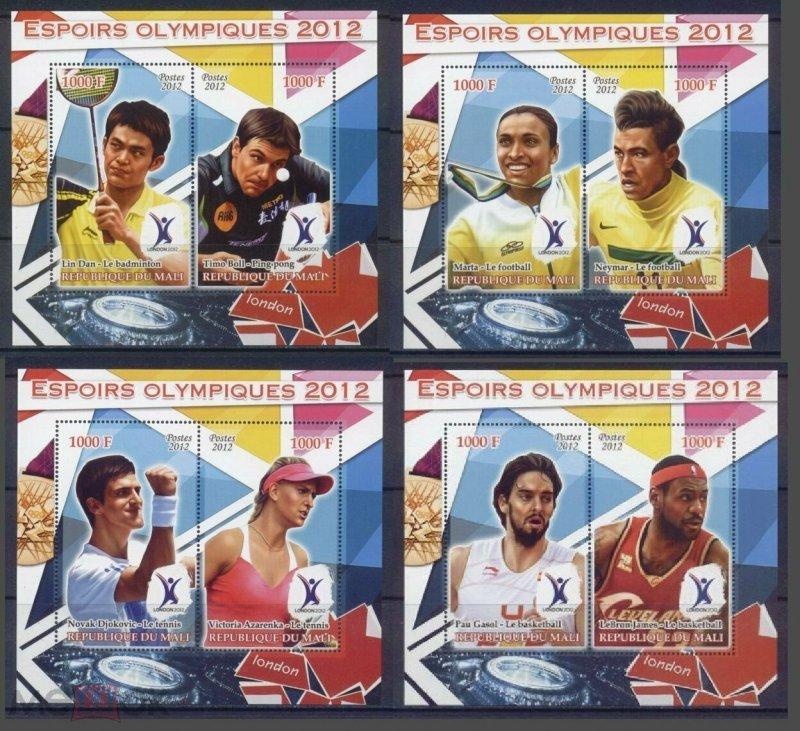 PE199-202 2012 MALI OLYMPIC GAMES LONDON LEBRON JAMES DJOKOVIC NEYMAR 4BL MNH