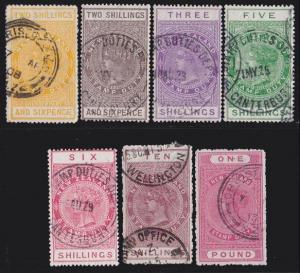 NEW ZEALAND 1880 Stamp Duty 7 values 2/6 to £1 used.........................4741