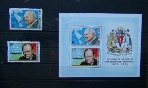 British Antarctic Territory 1974 Birth Centenary of Sir Winston Churchill set MS