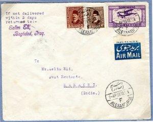 EGYPT Cover Air Mail IMPERIAL AIRWAYS Alexandria India Karachi 1929 EP400